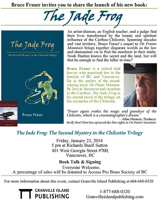 The Jade Frog book launch poster